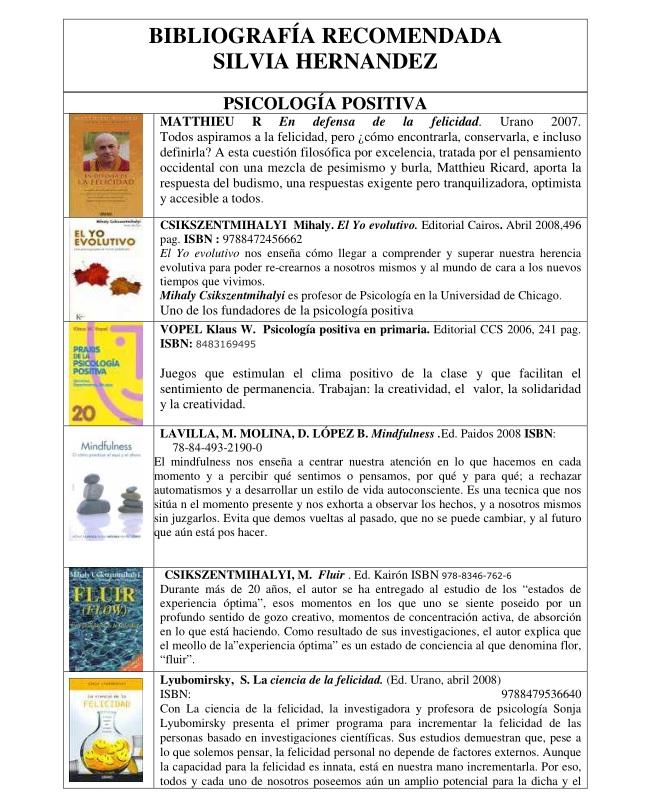Bibliografía Psicología Positiva
